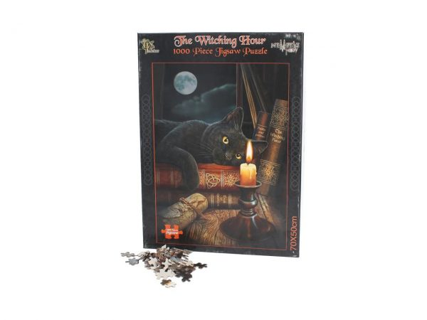 The Witching Hour Jigsaw Puzzle Lisa Parker Animal Cat Occult Witchcraft Fantasy Gothic Games Nemesis Now