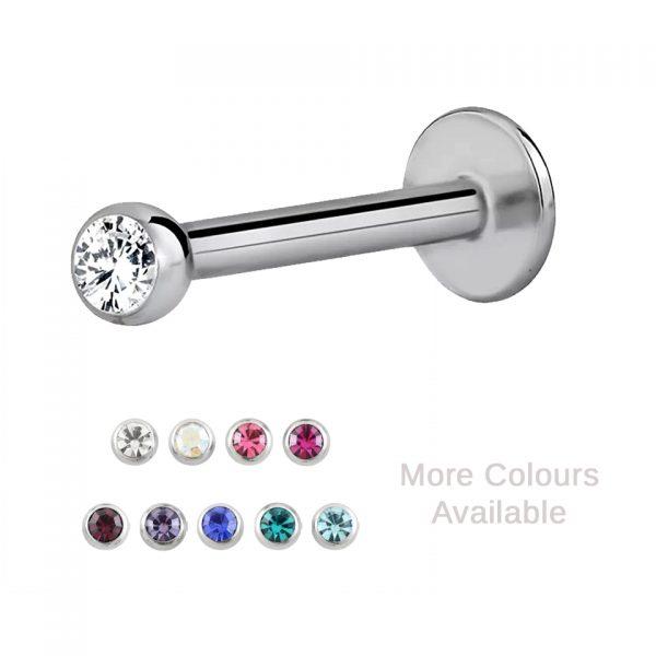 Gemmed Titanium Labret Sparkle Jewel Body Jewellery Piercing
