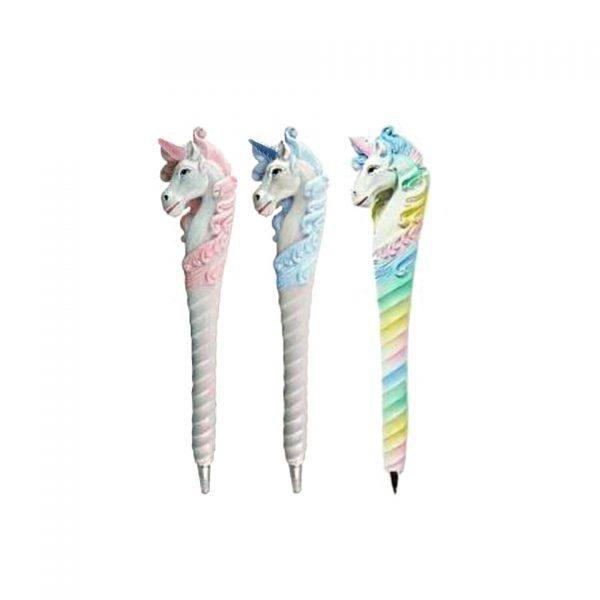 Wild Writers Unicorn Novelty Pen Ballpoint Resin Spiritual Pastel Pink Sky Blue Rainbow Multi Colour Unicorns