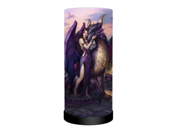 Dragon Sanctuary Cylindrical Round Table Lamp Light Mains Powered Nemesis Now Angel Dragon James Ryman
