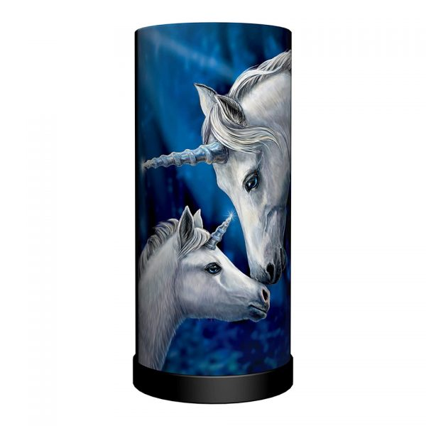 Sacred Love Cylindrical Round Table Lamp Light Mains Powered Nemesis Now Unicorn Lisa Parker