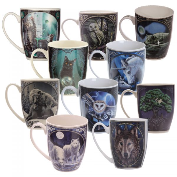 Lisa Parker New Bone China Mugs Wolves Wolf Owl Cat Kitten Familiar Witchcraft Occult Unicorn Tree Of Life Hare Mythical Hubble Bubble Magic Owl Quiet Reflection Rise Of The Witches Sacred Love The Heart Of The Storm Tree Of Life Winter Warrior Wolf Head Drinkware Kitchenware Tea Coffee