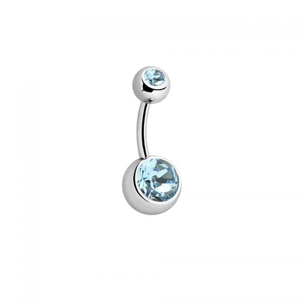 Gemmed Titanium Navel Bar Belly Sparkle Jewel Body Jewellery Piercing