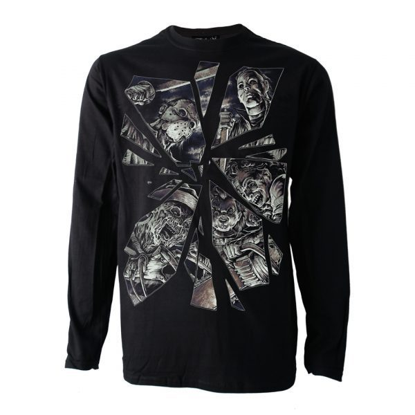 Broken Horror Mirror Long Sleeve T-Shirt Darkside Clothing Alternative Mike Myers Freddy Kreuger Jason Leatherface Chucky