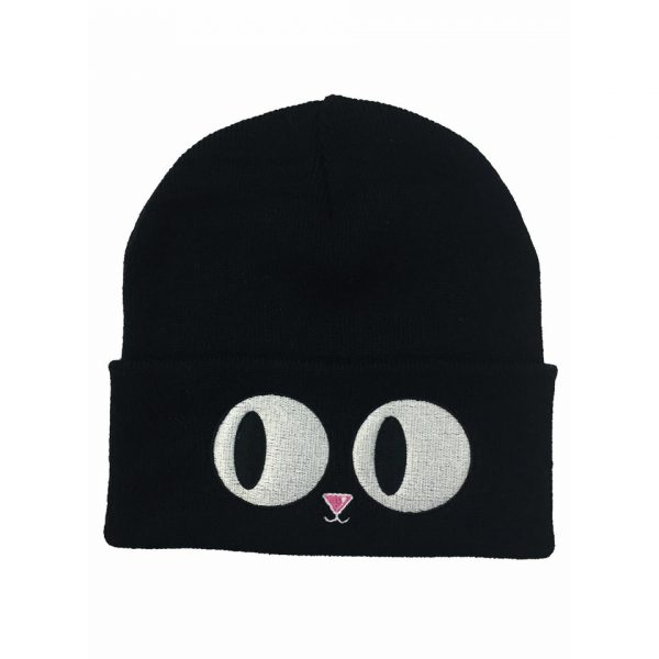 Cat Eyes Beanie Hat Winter Alternative Fashion Darkside Clothing