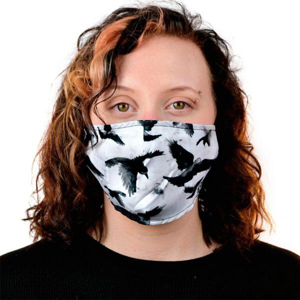 Crows Birds Monochrome Black & White Filter Fabric Cloth Mask Face Covering Reusable Innocent Clothing Vixxsin