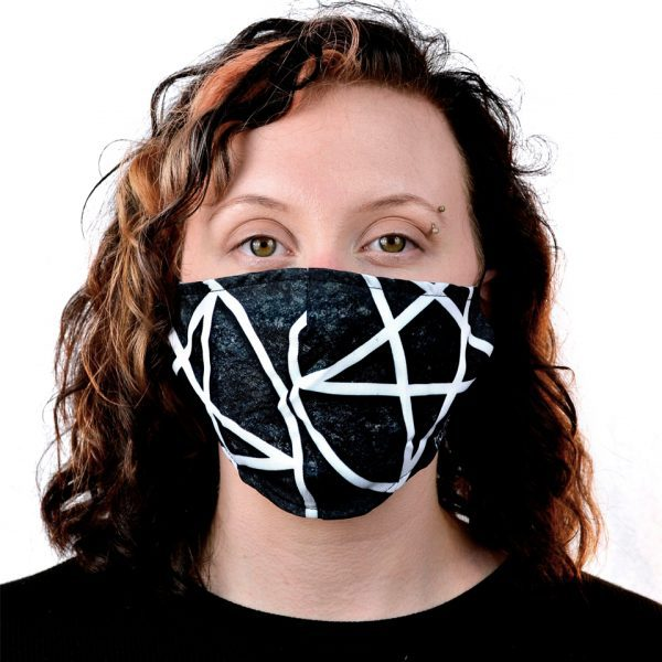 Large Big Pentagrams Monochrome Black & White Filter Fabric Cloth Mask Face Covering Reusable Innocent Clothing Heartless