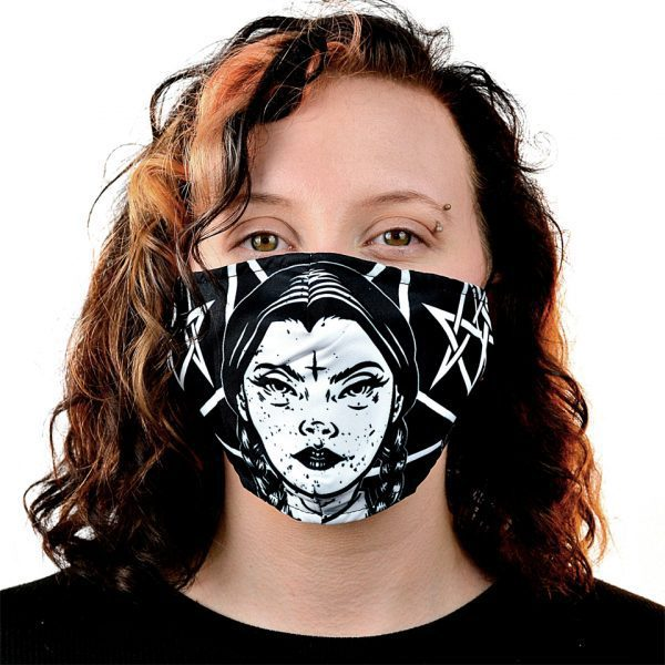 Wednesday Addams Occult Fabric Cloth Mask Face Covering Reusable Filter Innocent Clothing Heartless