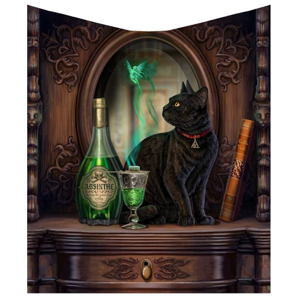 Absinthe Throw Nemesis Now Lisa Parker Black Cat Witch Familiar Green Fairy Soft Furnishing