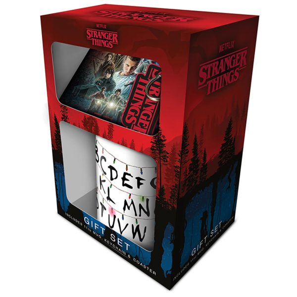 Stranger Things Gift Set String Light Mug Iconic Coaster Logo Key Chain Ring Parallel Universe Pyramid International Official Netflix