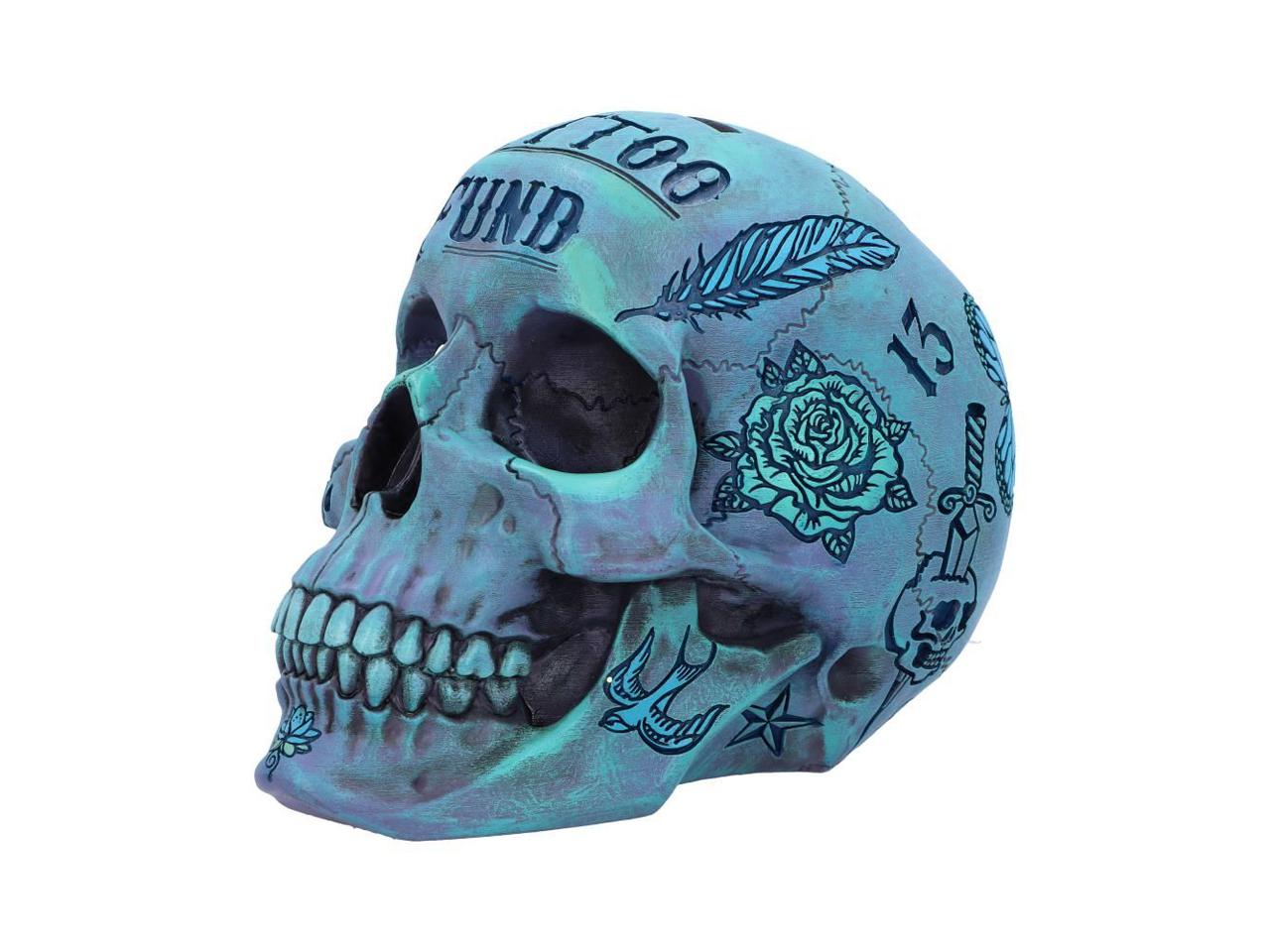 Tattoo Fund Skull Blue Nemesis Now Traditional Tribal Illustrative Money Box Coin Bank