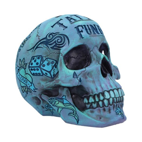 Tattoo Fund Skull Blue Nemesis Now Traditional Tribal Illustrative Money Box Coin Bank