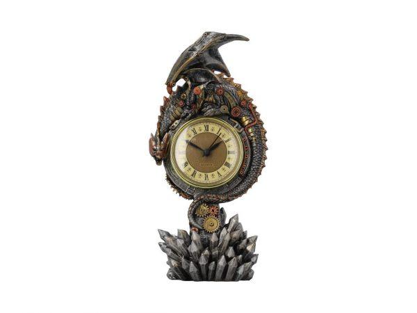 Clockwork Reign Mantel Metallic Steampunk Dragon Nemesis Now