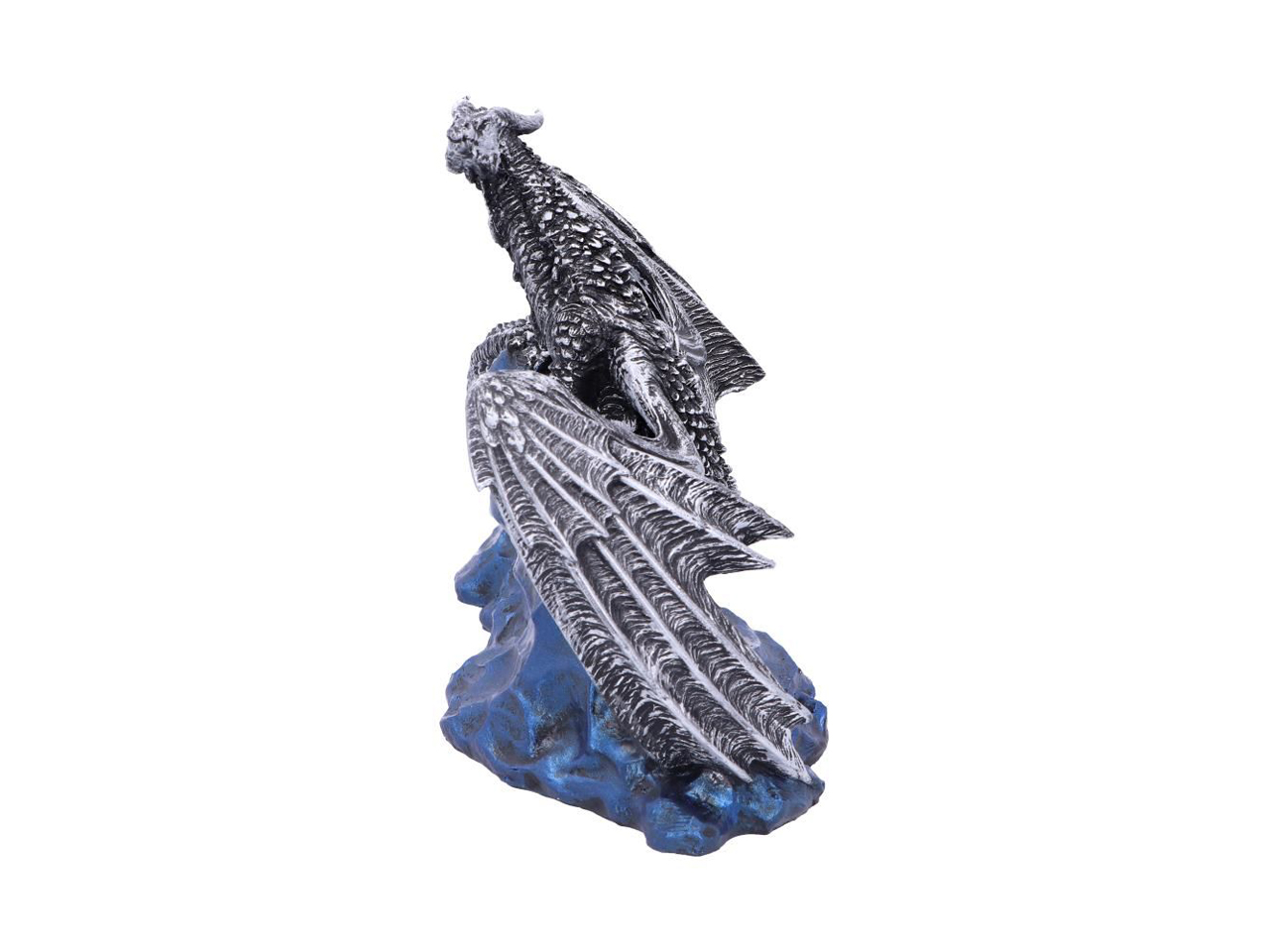 Samoon Dragon Figurine Ornament Silver Edition Blue Sandstone Poison Winds Central Asia Andrew Bill Nemesis Now
