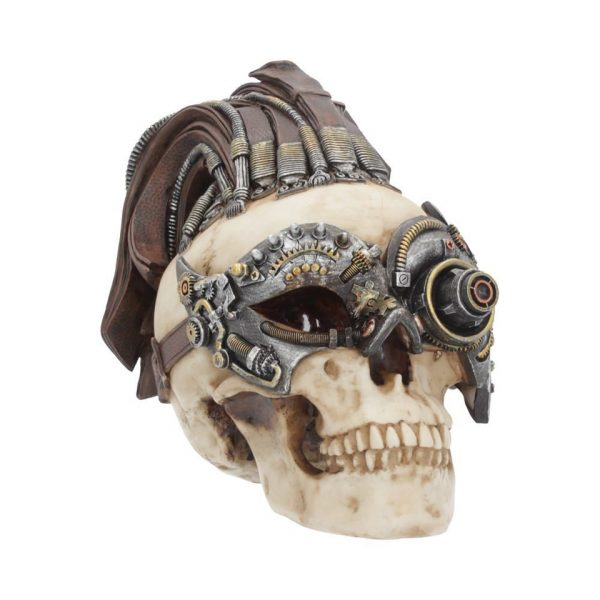 Dreadlock Device Skull Steampunk Leather Resin Nemesis Now Gothic Cranium
