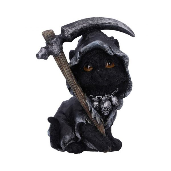 Amara Cat Nemesis Now Shroud Cape Cloak Scythe Chain Skulls Occult Grim Reaper Death Familiar Spiritual Dark Spirits Figure Magic