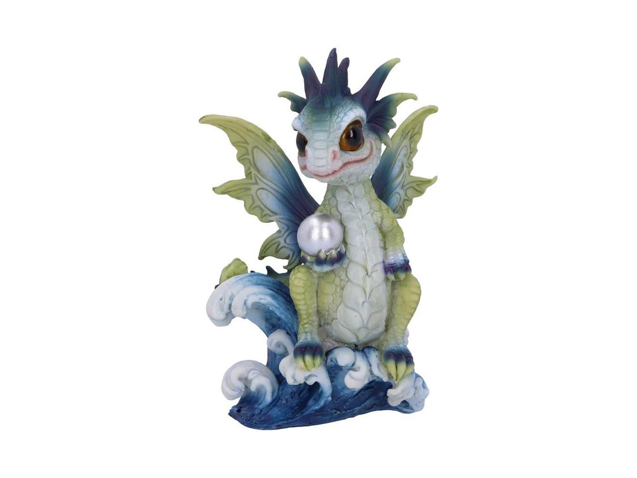 Water Hatchling Sea Dragon Figurine Ornament Pearl Silver Metallic Orb Green Blue Nemesis Now