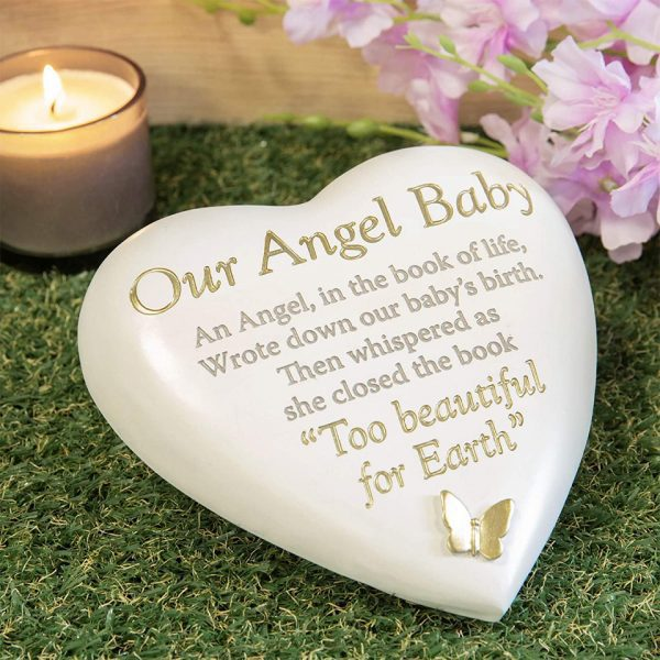 Our Angel Baby Memorial Plaque Heart Shape Resin Stone Widdop Graveside Gift Gold Butterfly