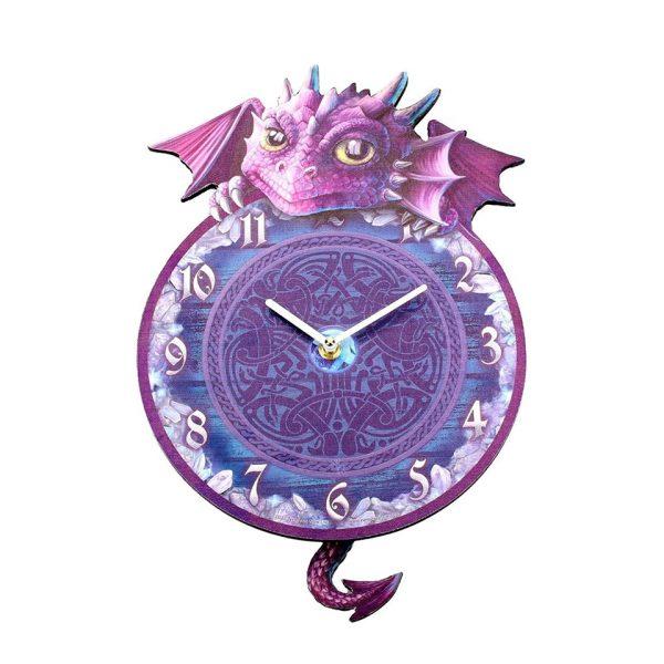 Dragon Tickin' Pendulum Clock Wall Purple Fantasy Creature Ticking Nemesis Now