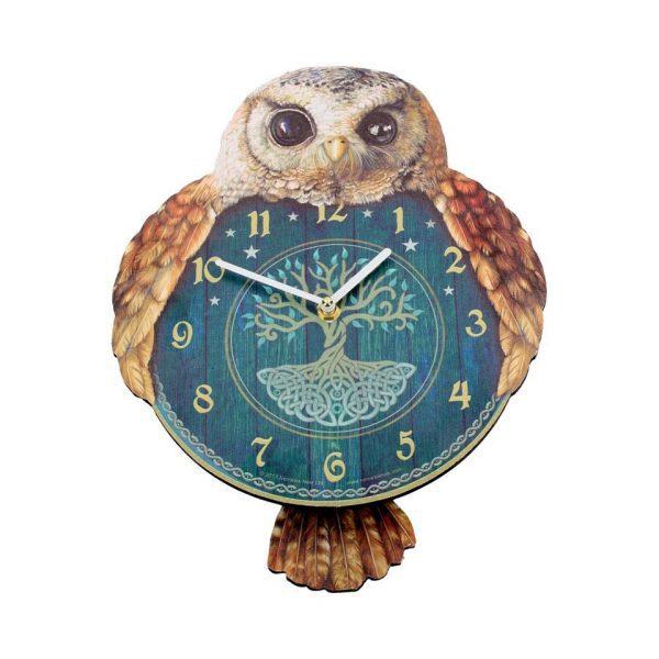 Hootin' Tickin' Pendulum Clock Wall Owl Fantasy Creature Ticking Tree Of Life Nemesis Now