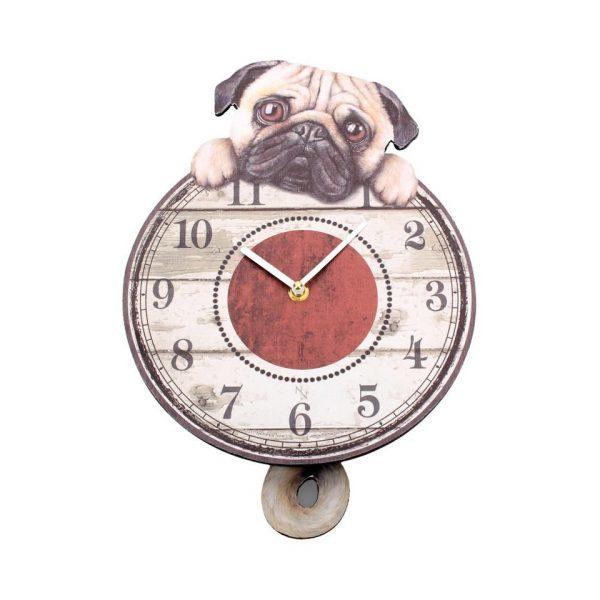 Puggin' Tickin' Pendulum Clock Wall Dog Fantasy Creature Ticking Nemesis Now