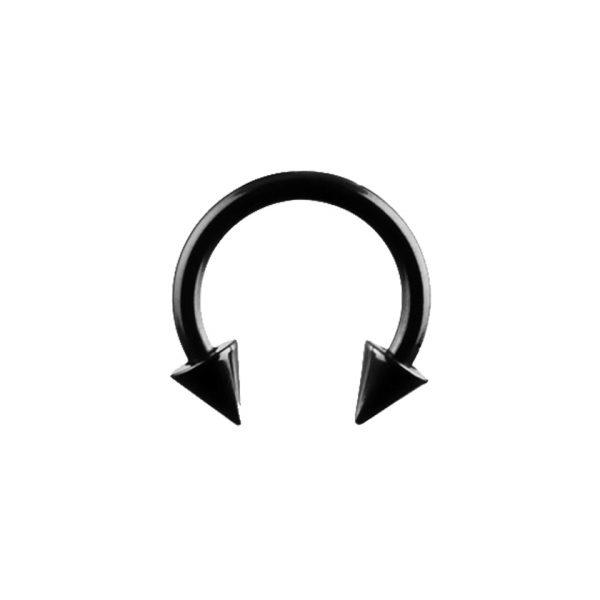 Black Spiked Circular Barbell 1.2 1.6 CBB Horse Shoe Body Jewellery Piercing