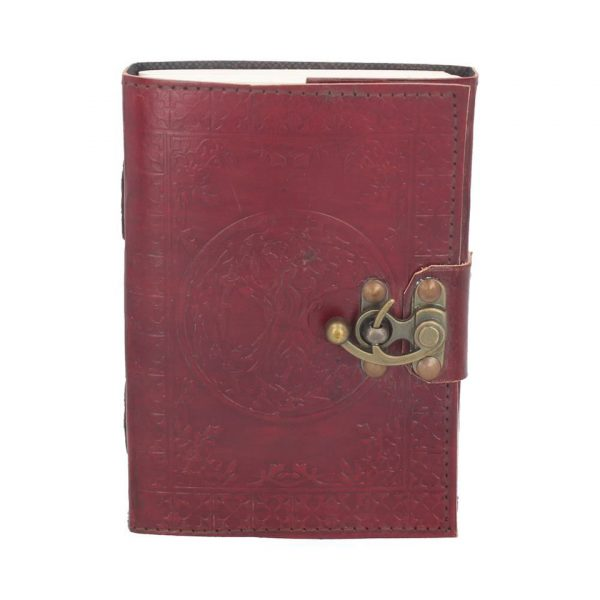 Tree Of Life Leather Journal Note Book Plain Blank Paper Handmade Pentagram Celtic Magic Occult Pagan Spellbook Nemesis Now