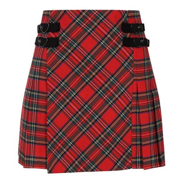 Red Tartan Mini Skirt with Heart Buckles