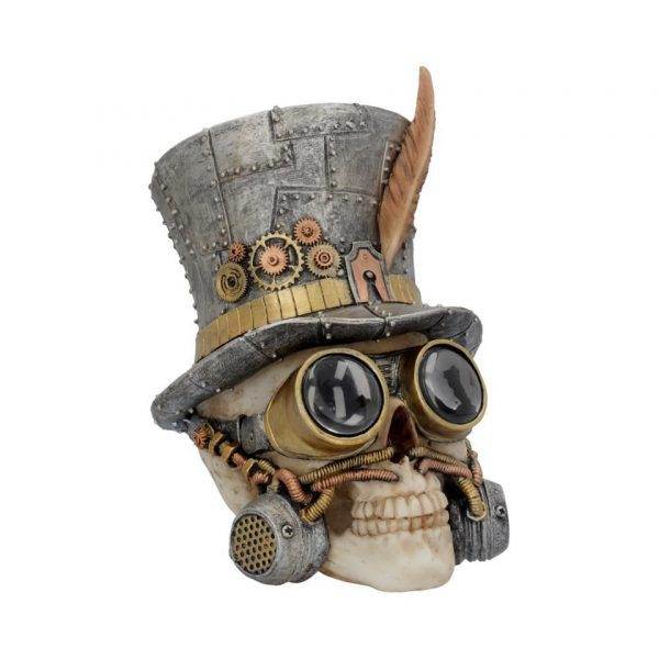 Count Archibald Steampunk Skull Cogs Goggles Mechanical Top Hat Post Apocalyptic Dystopia Nemesis Now